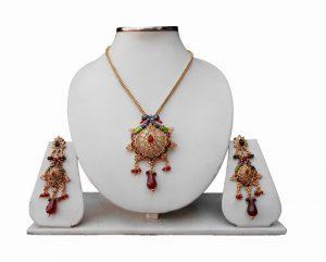 Shop Online Beautiful Peacock Polki Pendant with Earrings-0