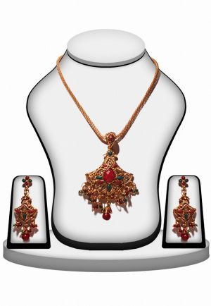 Beautiful Designer Pendant Jewelry Set in Red and Green Stone-0