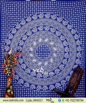 Blue Bohemian Elephant Tapestry