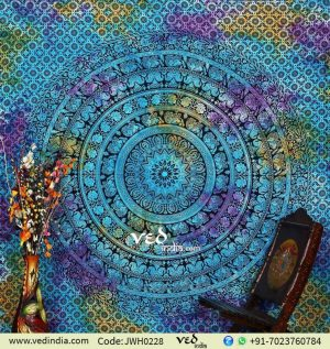 Blue Flower Hippie Mandala Tapestry