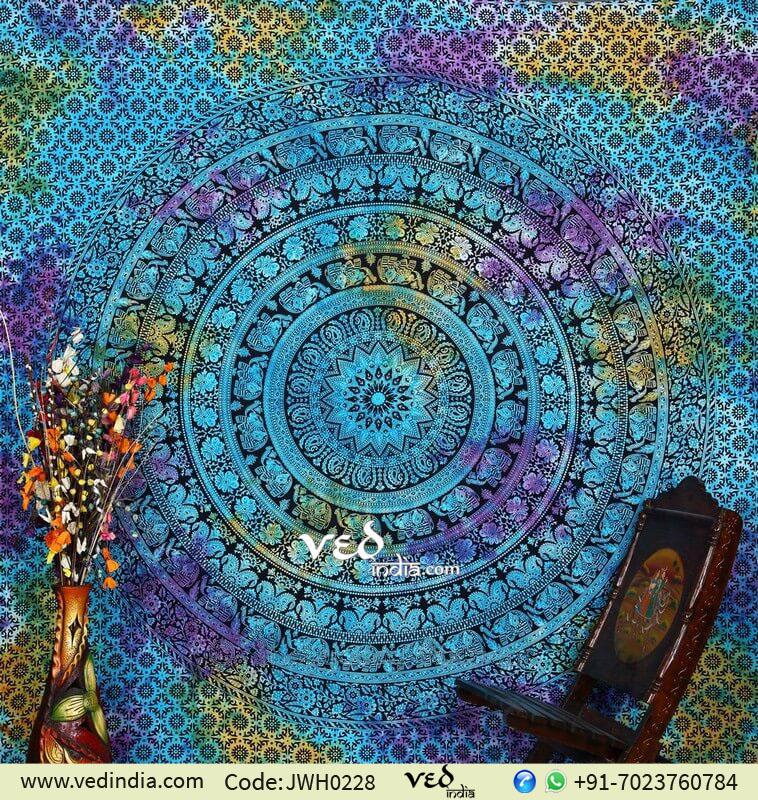 Blue Flower Hippie Mandala Tapestry