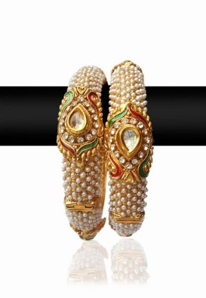 Classy Pearl Bangles With Stones for Women in Gold Polish-0