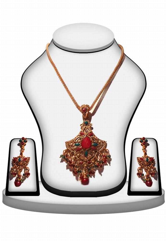 Designer Polki Pendant Set wih Earrings in Red and Green Stone Work-0