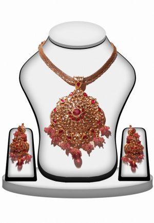 Ethnic Partywear Polki Pendant Set in Pink Stone-0