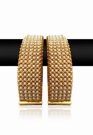 Fancy Pair of Festive Bangles with Stones and Golden Polish from India-0