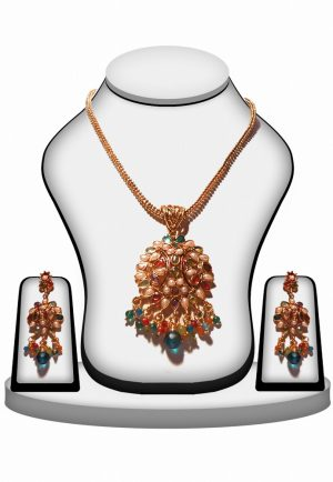 Fashionable Multi Color Polki Pendant and Earrings Set for Bridal Wear-0