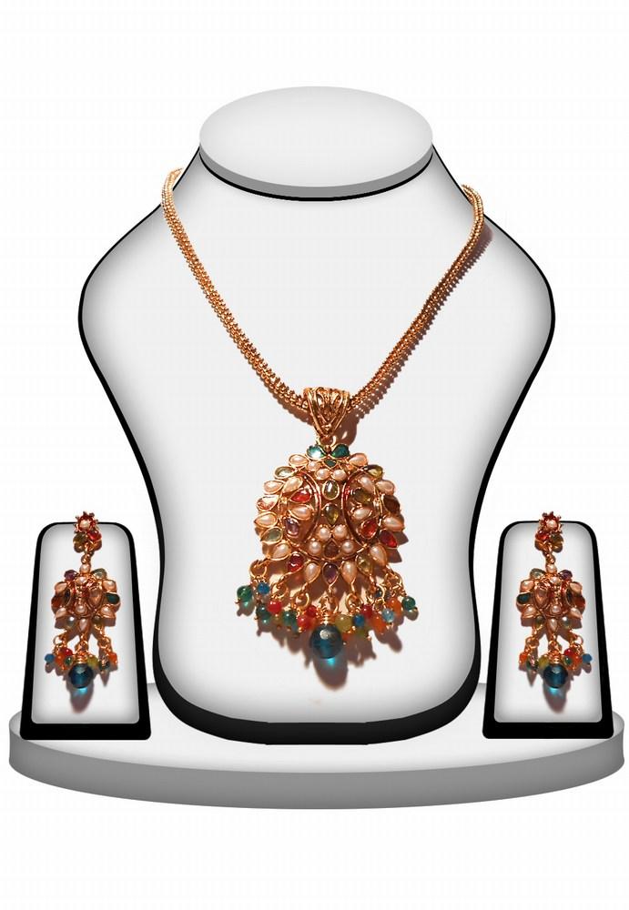 Fashionable Multi Color Polki Pendant and Earrings Set for Bridal Wear-0