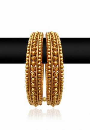 Bright Golden Polish Bangles for Women with Stylish Design-0