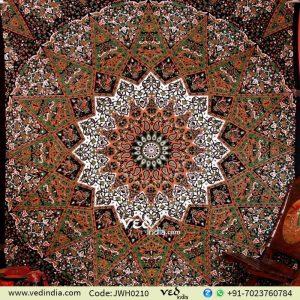 Green and Black Star Mandala Tapestry