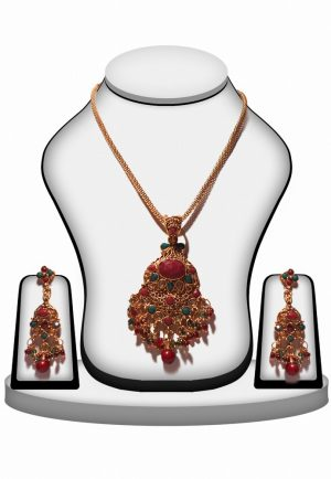 Indian Ethnic Style Red and Green Polki Pendant Set for Women-0