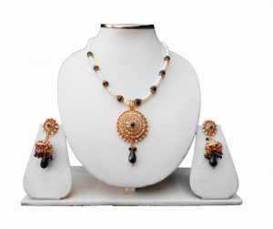 Gorgeous Indian Pendant with Earrings in Black and While Stones-0