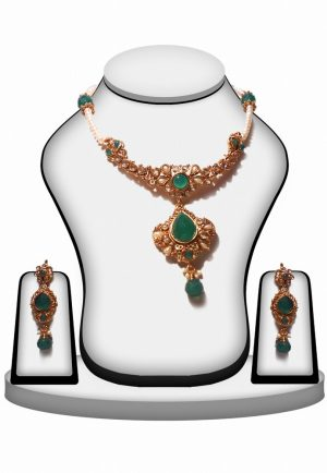 Jaipur Fashion Necklace and Earrings Polki Jewelry Set In Green Stones-0