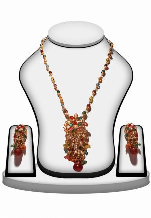 Latest Design Multi Color Polki Jewelry Set with Gorgeous Earrings-0
