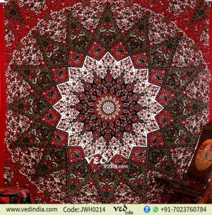 Maroon and Green Star Tapestry