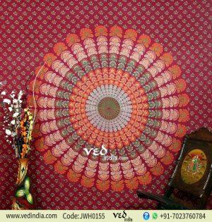 Maroon Mandala Peacock Tapestry