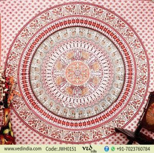 Maroon White Parrot Tapestry Wall Hanigng