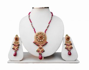 Shop Online Beautiful Red And Green Polki Pendant Set With Earrings-0