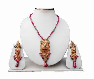 Latest Design in Red and Green Polki Pendant Set with Beautiful Earrings-0