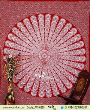 Red Mandala Psychedelic Tapestry