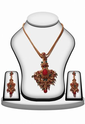 Shop Online Latest Design Polki Pendant Set In Red and Green Stone-0