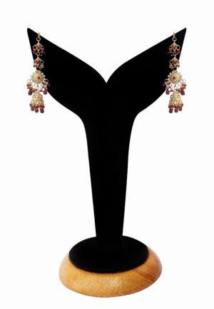 Beautiful Designer Earrings in Maroon Stones for Girls-0