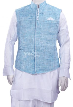 Aqua Blue Nehru Suit Party Wear Jacket in Linen for Men-0