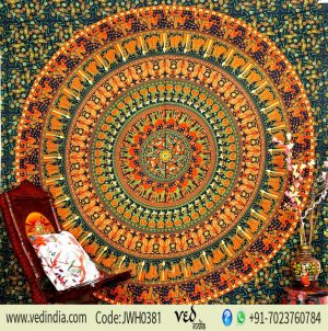 Bohemian Mandala Elephant Wall Tapestry in Round Green Ethnic Print-0