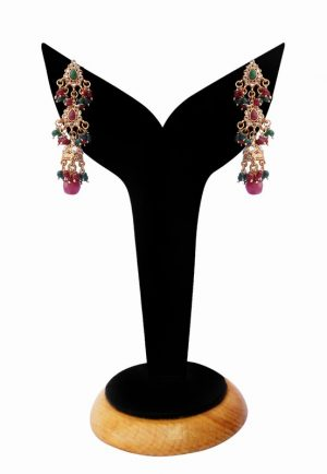 Gorgeous Red and Green Polki Stones Studded Fashion Earrings-0