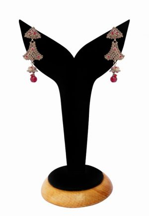 Designer Red and White Stone Studded Polki Earrings From India-0