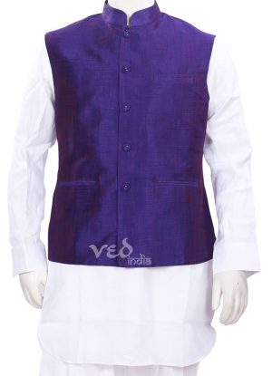 Designer Blue Linen Indian Nehru Ethnic Jacket for Men-0
