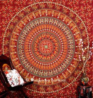 Maroon Mandala Elephant Boho Dorm Wall Tapestry Bedspread Queen-0