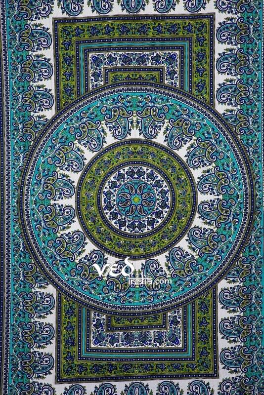 Green Boho Mandala Wall Tapestry