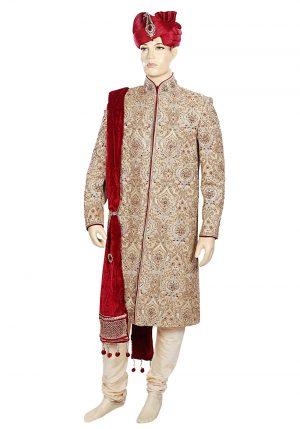 Latest Design Smart Embroidered Ethnic Golden Sherwani Wedding Suit-0