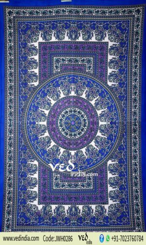 Twin Blue Hippie Medallion Tapestry