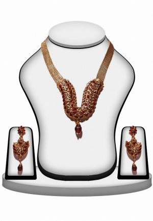 Beautiful Party Wear Polki Necklace Set in Red and White Stones -0