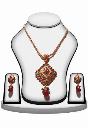 Bridal Polki Pendant Set with Earrings with Red, Green And Pearls -0