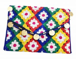 Bright Colorful Floral Embroidery Designer Handmade Vintage Clutch Bags-0