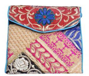 Colorful Ethnic Clutch Bag with Attractive Sling and Old Zari Work -0