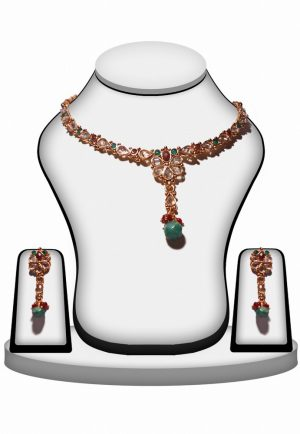 Elegant Red, Green and White Stone Necklace Set for Party Wear-0