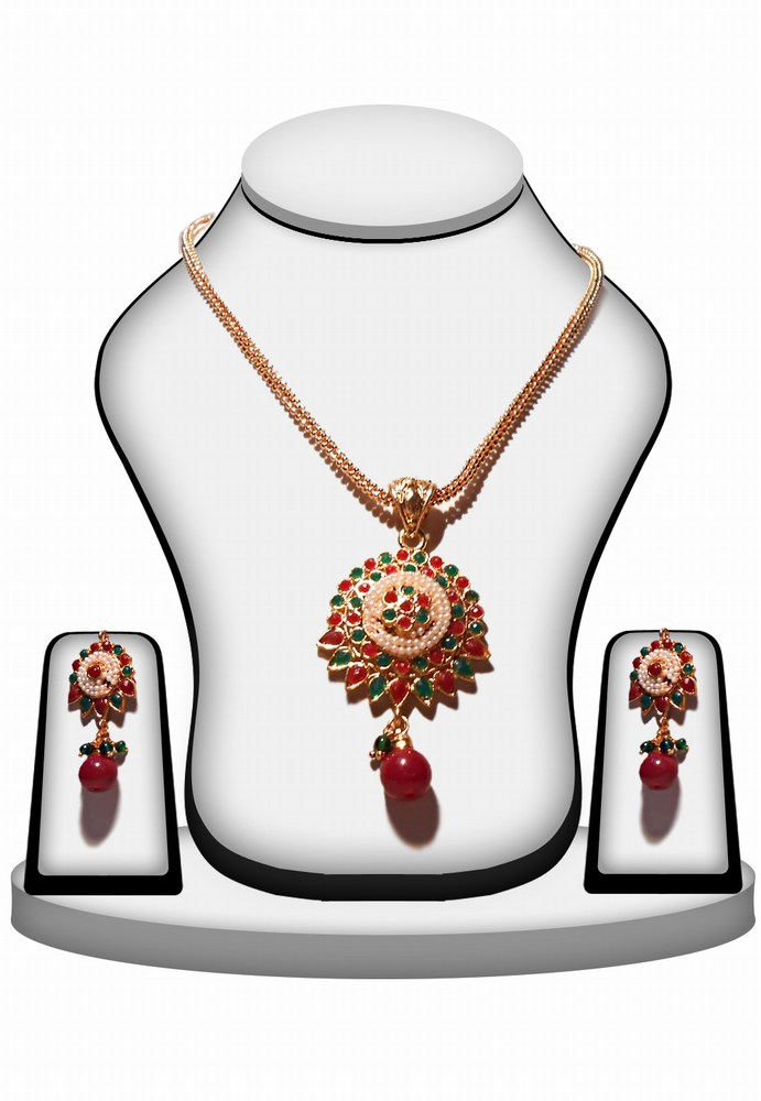 Ethnic Designer Polki Pendant and Earring Set in Red, Green and Pearls-0