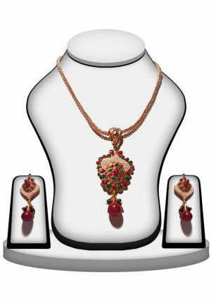 Ethnic Fashion Polki Pendant and Earrings Set in Red, Green and Pearls-0