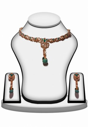 Fashion Polki Necklace and Earrings Set In Green and White Stones-0