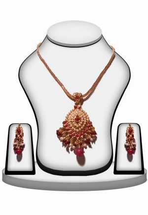 Latest Design Polki Pendant Set with Jhumkas In Red and Pearls-0
