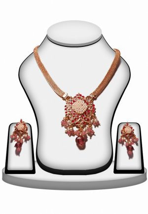 Multi Color Beaded Bridal Jewellery Polki Pendant Set for Women -0