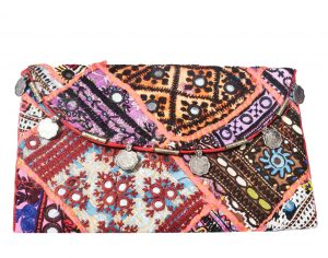 Buy Multicolored Patchwork Mirror Indian Clutch Bag for Parties-0