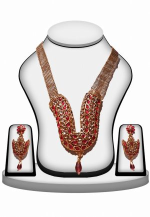 Red and White Polki Necklace Jewelry Set From India with Earrings-0