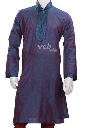 Readymade Stylish Blue Kurta Pjyama for Men for Casual Parties-0