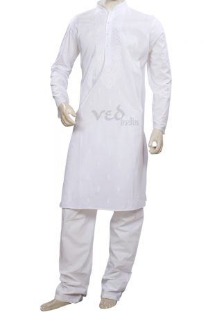 Casual Wear White Traditional Cotton Kurta Pajama Set -0
