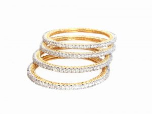Set of AD Bangles for Women from India with White CZ Stones-0