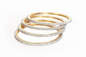Set of AD Fashion Bangles in Exquisite Design with White CZ Stones-0